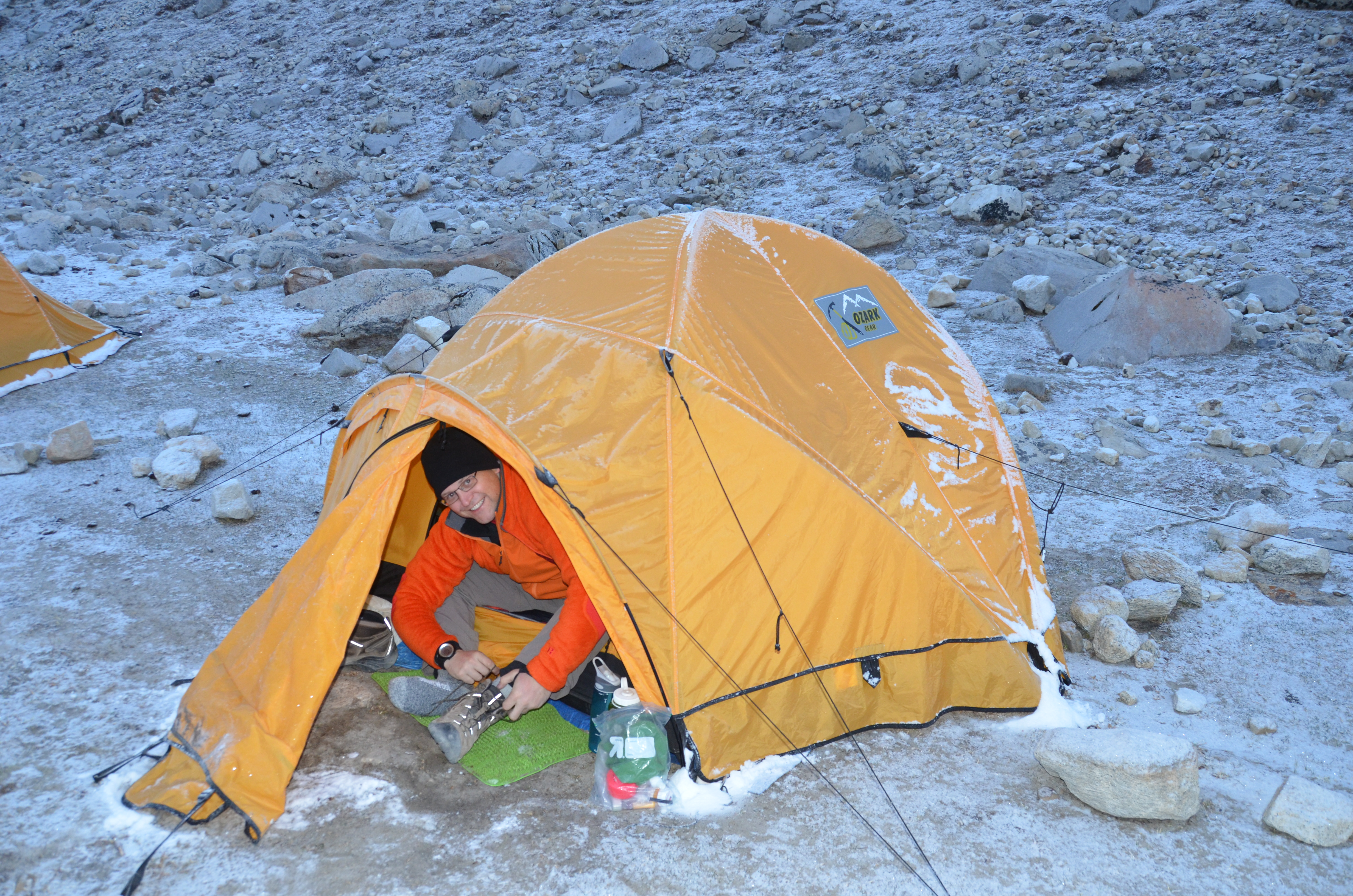 Emerging from the tent at 5am & Everest Base Camp Day 11 u2013 Second u201cSummit Dayu201d | John Luth